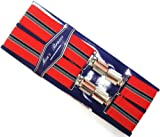 MEN`S BRACES QUALITY CLASSIC RED WITH GREY/NAVY STRIPES 35MM (MADE IN UK)***SAME DAY POSTING***