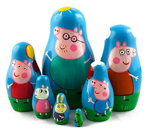 Peppa-Pig-Family-Matryoshka-Wooden-Russian-Nesting-Dolls-Kids-Room-Decor-Art-Crafts-Gifts-7pc