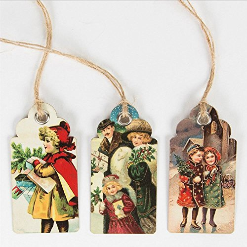 Retro Vintage Christmas Scene Gift Tags x 15