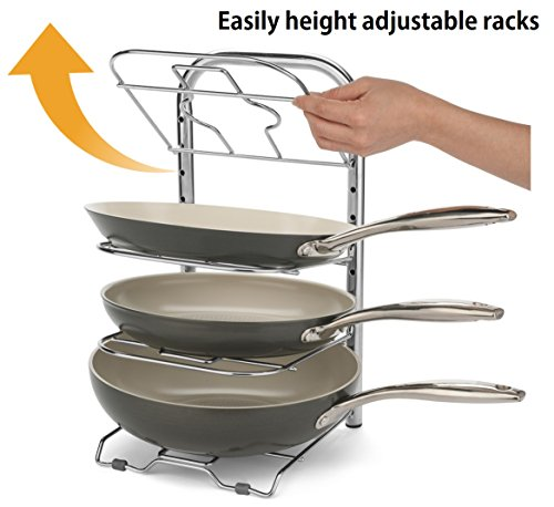 BTH Height Adjustable 12-Inch Skillet Pan Pot Organizer Rack Large frying Pan and Pot Kitchenware Cookware Rack Holder Shelves Kitchen Cabinet Countertop Storage Solution Stainless Steel (Pot Pan Holder Rack compare prices)
