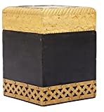 Kalindi Wooden Tea Box (KHC 312, Golden and Black, 10.668 cm x 8.128 cm x 8.128 cm)