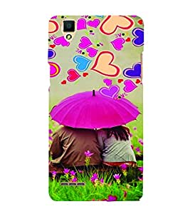 PrintVisa Romantic Love Couple Hearts 3D Hard Polycarbonate Designer Back Case Cover for Oppo F1