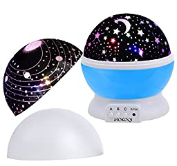 MOKOQI Baby Night Light Lamps For bedroom Romantic 360 Degree Rotating Star with Sky Moon Cover +Cosmos Cover Projector Lights Color Changing LED For Children Kids Girls Baby Nursery Gift