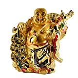 HealthIQ Standing Laughing Buddha With Coins For Wealth And Success, Good Luck & Prosperity, Feng Shui Idol, Showpiece