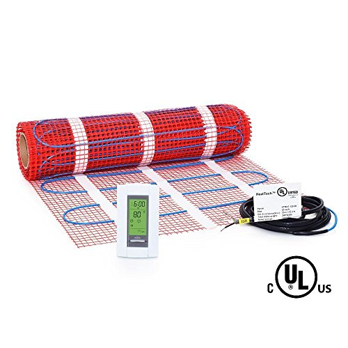 25 sqft, 120V Heattech Electric Radiant Floor Heating Mat In-floor Tile Stone Heating with Adhesive Backing, Sticky Mesh + AUBE TH115-AF-120S radiant floor sensing thermostat with floor sensor (Electric Infloor Heat compare prices)