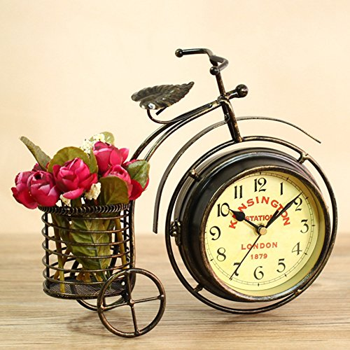NEOTEND Handmade Vintage Bicycle Clock Bike Mute Two Sided Table Clock 1