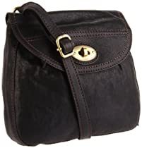 Fossil Carson Flap Organizer Cross-Body,Black,one size