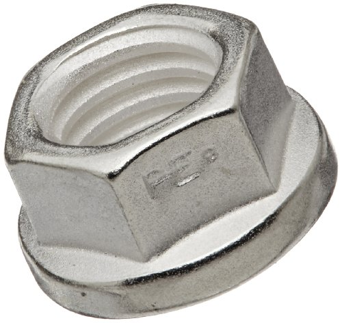 A286 Stainless Steel Flange Nut, Silver Plated Finish, Right Hand Threads, Distorted Threads, Self-Locking, Meets Mil Spec 21043, Class 3B 5/16