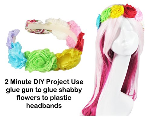"""Ship From USA--HipGirl DIY Bows n Flowers (18pc (9x2pc) 3"""" Shabby Flowers--Color May Vary). Requires Slight Trimming Off of the Mesh Backing They Come Attached to. Toss in the Dryer to Fluff up."""