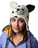 DeLux Puppy White Wool Pilot Animal Cap/Hat - Limited Edition