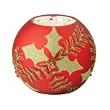 October Hill 3-Inch Hand Painted Glass Tealight Candle Holder Holly And Pine