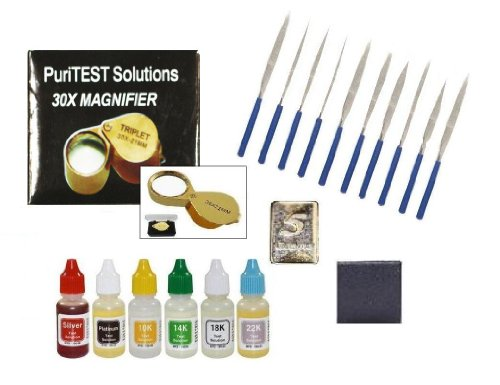 Bulk Jewelry Supplies-Gold Silver Platinum Testing Kit-PuriTEST Acids, Stone, 10 Files, Loupe, 5gr Solid Silver