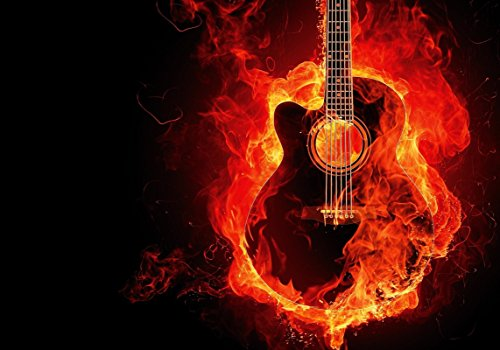 Fire Guitar POSTER PRINT A4 - A3 Home Wall art Photography photo decal Black and Red unframed