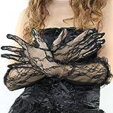 花柄レースの手袋  ロンググローブ黒