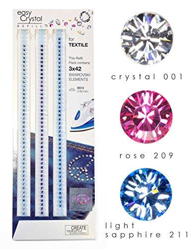 easy Crystal Striscie ricariche TESSUTO & MODA con 126 (3x42) cristalli SWAROVSKI (Misura: SS10, Colore: crystal 001, rose 209, light sapphire 211)