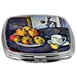 Rikki Knight Paul Cezzane Art Design Compact Mirror, Still Life With A Bottle And Apple Cart, 3 Ounce