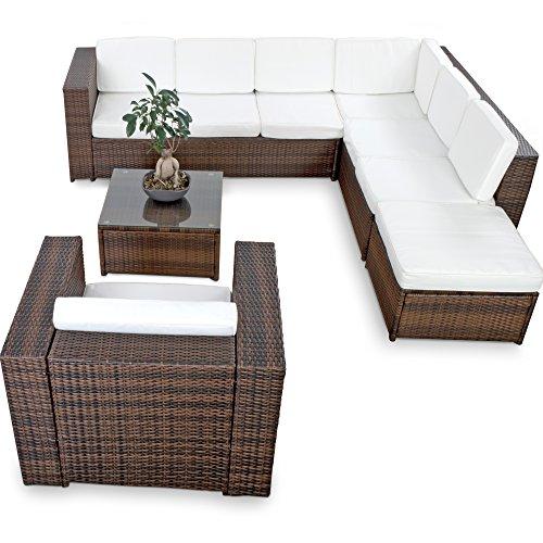 XINRO-XXL-22tlg-Gartenmbel-Lounge-Set-gnstig-1x-1er-Lounge-Sessel-Lounge-Mbel-Polyrattan-Sitzgruppe-Garnitur-InOutdoor-mit-Kissen-handgeflochten-braun