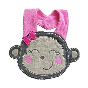 Sannysis® Impermeables baberos de dibujos animados del almuerzo; Toalla de la saliva del babero infantil Mono