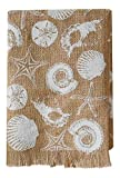 White Shell Sea Life Print on Burlap Powder Room Guest Towel 21 Inch Mud Pie