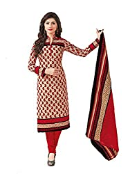 Taos Brand cotton dress materials for women womens dress materials cotton salwar suit New Arrival latest 2016 womens party wear Unstitched dress materials for women (1423 summer__cream and multicoloured_freesize