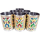 "Lavender Craft ROYAL FLOWER DESIGNED STAINLESS STEEL MEENAKARI 6-GLASS SET -G.M. (2.5"" X 2.5"" X3.67"" INCHES)"