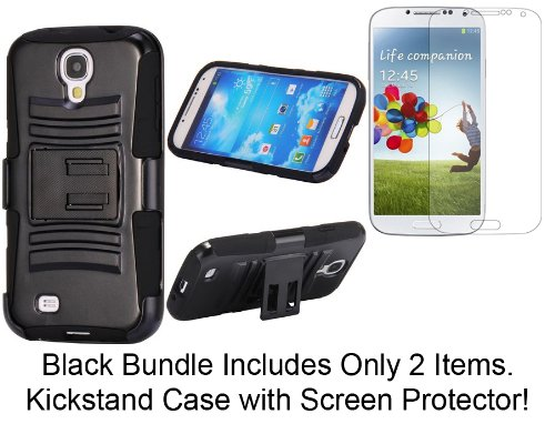 Abco Tech 7-Item Kickstand Case Bundle For Samsung Galaxy S4 I9500 - Includes Double Kickstand Hybrid Case Pc+Silicone Case Cover, Screen Protector , 2 In 1 Earphone Dust-Proof Plug Metal Stylus Touch Pen, 6 In 1 Retractable Usb Cable Adapter, Eu Wall Cha