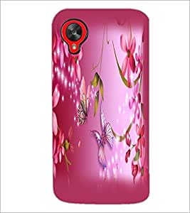 PrintDhaba Butterfly and Flowers D-2147 Back Case Cover for LG GOOGLE NEXUS 5 (Multi-Coloured)