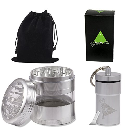 Cool Weed Grinder Set for Herb, Spice & Tobacco including: Large, 4 pieces, 3.25 inch tall, Top Quality Metal Crusher with Keif Catcher & Airtight Jar with Lid, Ideal for Storage (Food Mixer With Bowel compare prices)