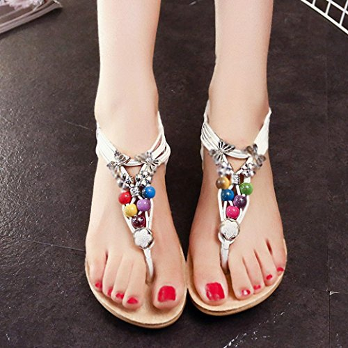 Start Women Summer Bohemia Colorful Bead Butterfly Sandals Shoes (US=9.5, White)