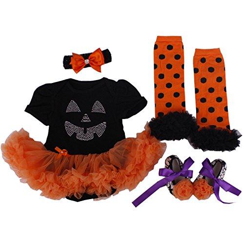 BabyPreg Infant Girls' Halloween Pumpkin Dress 4PCS Headband Legging Shoe (L for 9-12 months, (Funny Halloween Outfits)