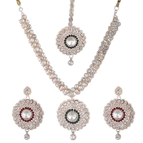 Bel-en-teno Red & Green Alloy Necklace Set For Women - B00PY9YUCQ