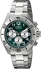 Invicta Pro Diver Men's Quartz Watch with Green Dial  Chronograph display on Silver Stainless Steel Bracelet 18007