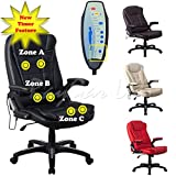 RayGar Luxury Faux Leather 6 Point Massage & Reclining Recliner Office Chair 360 Swivel High Back Computer Desk Study - Black