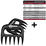 Meat Temperature Guide + Pulled Pork Shredder Claws - BEST BBQ FORKS - Shredding Handling & Carving Any Size Food - Claw Handler Set for Pulling Brisket from the Grill Smoker or Slow Cooker - BPA Free Heat Resistant Barbecue Paws by Cave Tools