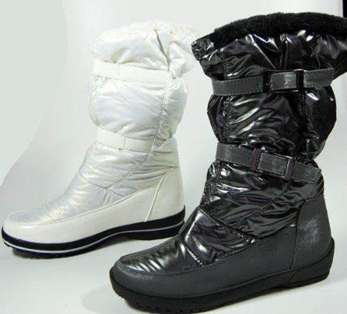 Damen Stiefel Weiß Grau Silber Winter Schuhe Damenstiefel gefüttert Schuh voll warm