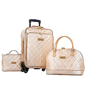 Joy & Iman 4-piece Iconic Quilted Patent Luggage Set with Handbag - Champagne