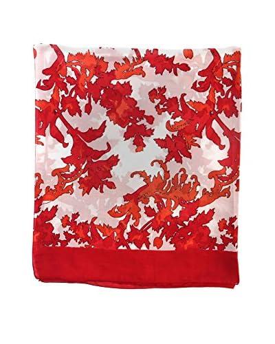 Alibey Fular de seda dibujo hojas Rojo