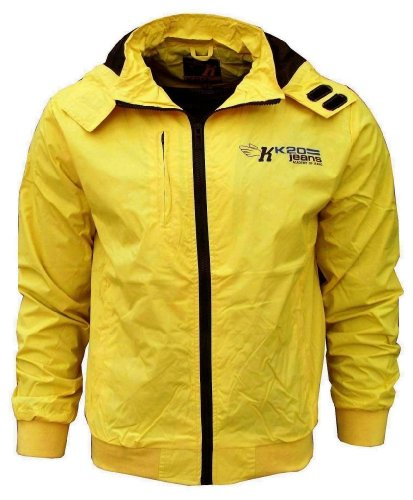 K20 Jeans Sonic Men's Lightweight Sports Rain Wind Jacket yellow / black Large