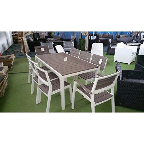 Set da giardino mod. Harmony in resina della keter con tavolo 2 poltrone e 4 sedie impilabili