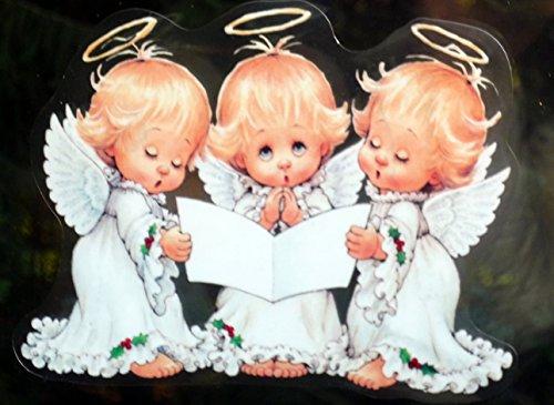 """4 er SET RETRO KULT """" 3 SCHUTZENGEL MIT HEILIGENSCHEIN"""" 14 x 11,5 cm , Fensterdekoration Fensterbild, Fensteraufkleber, MADE IN GERMANY Autoaufkleber Deko Sticker, Weihnachtsdekoration, Schaufenster In- und Outdoor , Kinderzimmer, Winter Basteln Spielen Kleben, Bunte Klebebilder für das Fenster Sticker, Weihnachten Rentier Tannenbaum Geschenke Weihnachtskalender Nikolaus Engel Christmas Schneemann"""