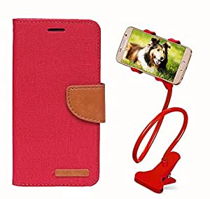 Aart Fancy Wallet Dairy Jeans Flip Case Cover for Redberry9300 (Red) + 360 Rotating Bed Moblie Phone Holder Universal Car Holder Stand Lazy Bed Desktop by Aart store.