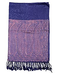 Stylish Viscose Stole Blue 80x40 Paisley Self Weaved shawl By Rajrang