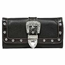 Luxury Divas Black Rhinestone Buckle Ladies Checkbook Wallet