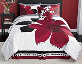 Reviews 8 Pieces MARISOL Red Black White Comforter Bed in a bag