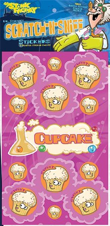 Dr Stinky's CUPCAKE Scratch-n-Sniff Stickers, 2 sheets 4 x 6 3/4, 26 stickers - 1