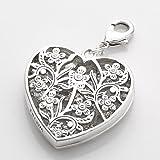 WOMENS LARGE SILVER TONE - MEGA LOVE HEART FLOWER CHARM LADIES PILGRIM PENDANT