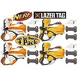 Nerf Lazer Tag Blasters Orange & White Team Pack Gift Set Bundle - 4 Pack