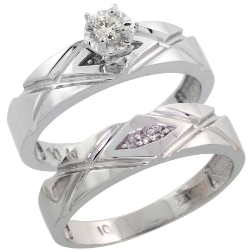 10k White Gold 2-Piece Diamond Engagement Ring Set, w/ 0.11 Carat Brilliant Cut Diamonds, 3/16 in. (5mm) wide, Size 8.5