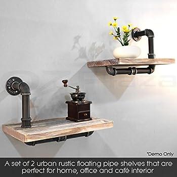 Industrial Pipe Shelf 2 Layer Pipe Design Rustic Modern Wood Ladder Bookshelf DIY Wall Shelving