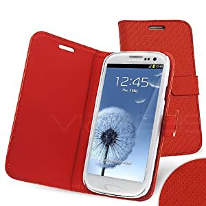 Celicious Notecase W Red Carbon Fibre Wallet Book Case for Samsung Galaxy S3 I9300